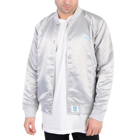- Adidas Mens NYC Satin Super Star Button Down Track Jacket Light Grey