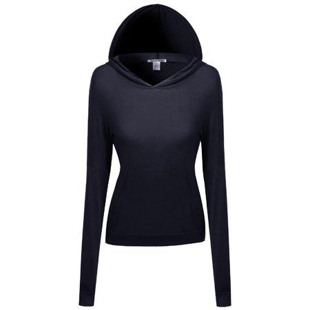 - FashionOutfit Women's Lightweight Stretchy Soft Kangaroo Pocket Hoodie