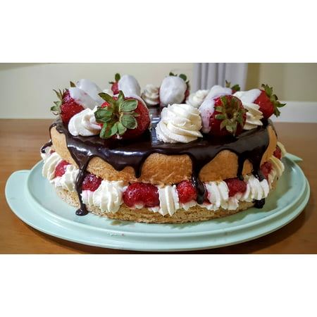 LAMINATED POSTER Chocolate Cake Sponge Cake Sweet Strawberry Cream Poster Print 11 x 17