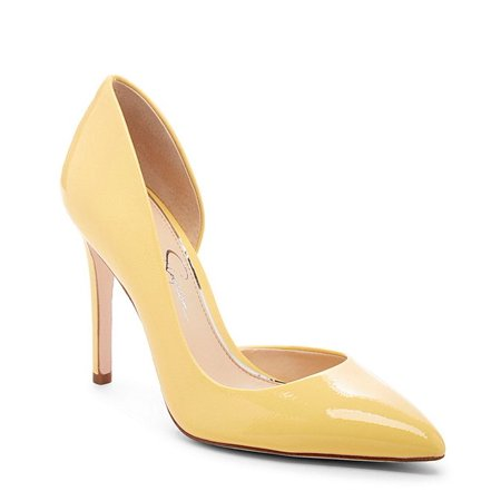 Jessica Simpson Prizma Pale Yellow Patent Pointed Toe stiletto Dress Pumps