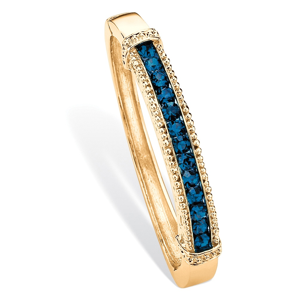 "Round Pave Simulated Blue Sapphire Crystal Bangle Bracelet in Gold Tone 8"" by PalmBeach Jewelry"