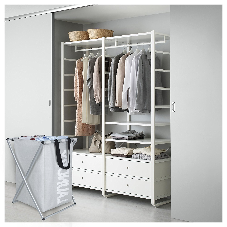 Zimtown Laundry Hamper Oxford Metal X-Frame Laundry Basket Clothes Storage Grey