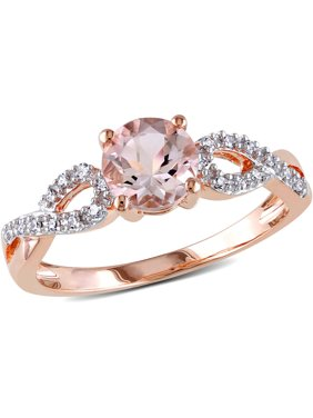 4/5 Carat T.G.W. Morganite and Diamond-Accent 10kt Rose Gold Infinity Engagement Ring