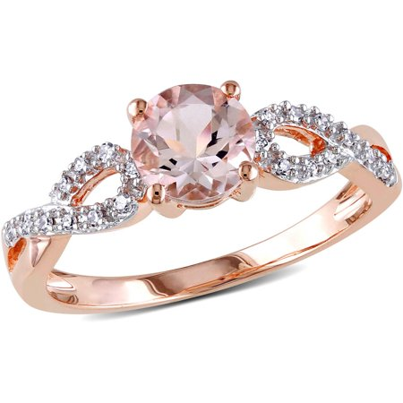 4/5 Carat T.G.W. Morganite and Diamond-Accent 10kt Rose Gold Infinity Engagement