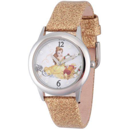 Disney Beauty And Beast Belle Girls Stainless Steel Glitz Watch  Gold Glitter Strap