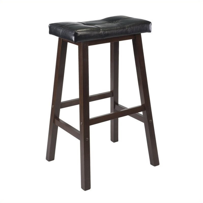 "Winsome Mona 29"" Cushion Saddle Stool in Antique Walnut"