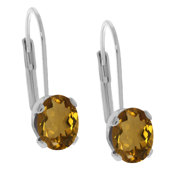 2.30 Ct Oval Shape Whiskey Quartz Silver Plated Brass Stud Earrings