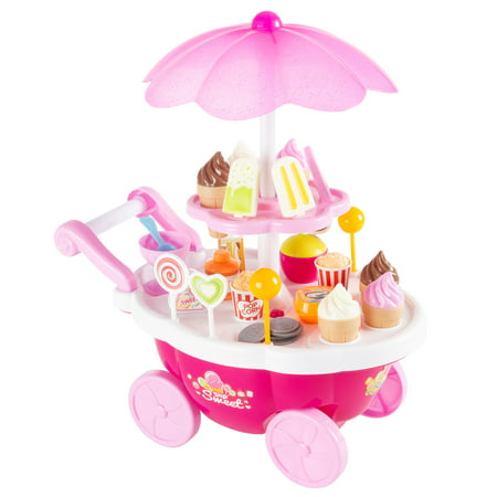 Kids Ice Cream Cart-Mini Pretend Play Food Stand with Candy, Lollipops, Popcorn, Snacks, Play Money-Sweets Trolley with Light and Music by Hey! Play!