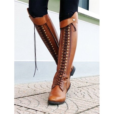 Women Vintage Riding Boots Lace Up Knee High Boots ()