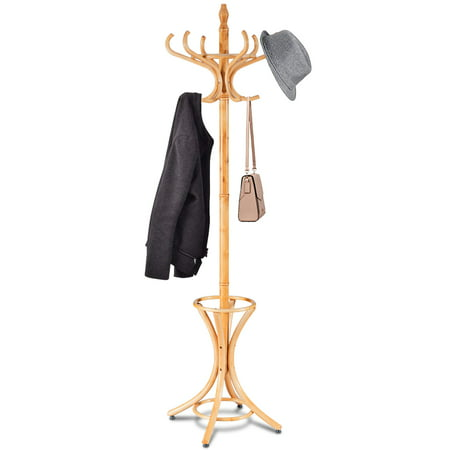 Wood Hat Stand (Gymax Wood Standing Hat Coat Rack Jacket Bag Hanger Tree 12 Hooks w/ Umbrella)