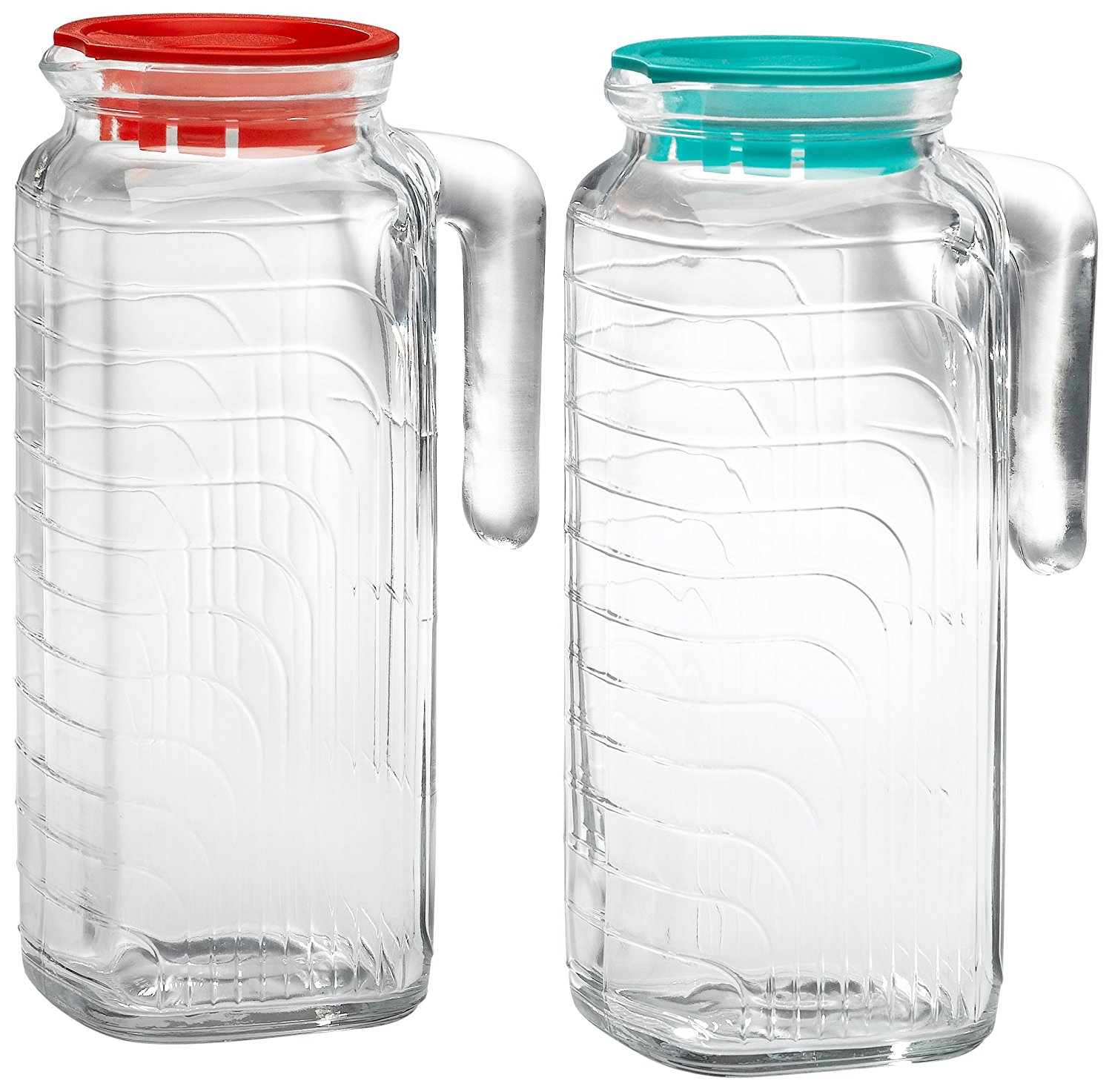Gelo 2-Piece Glass Pitcher Set with Lids, Red and Green 1.2 liter, LidCovered Sand Liter... by
