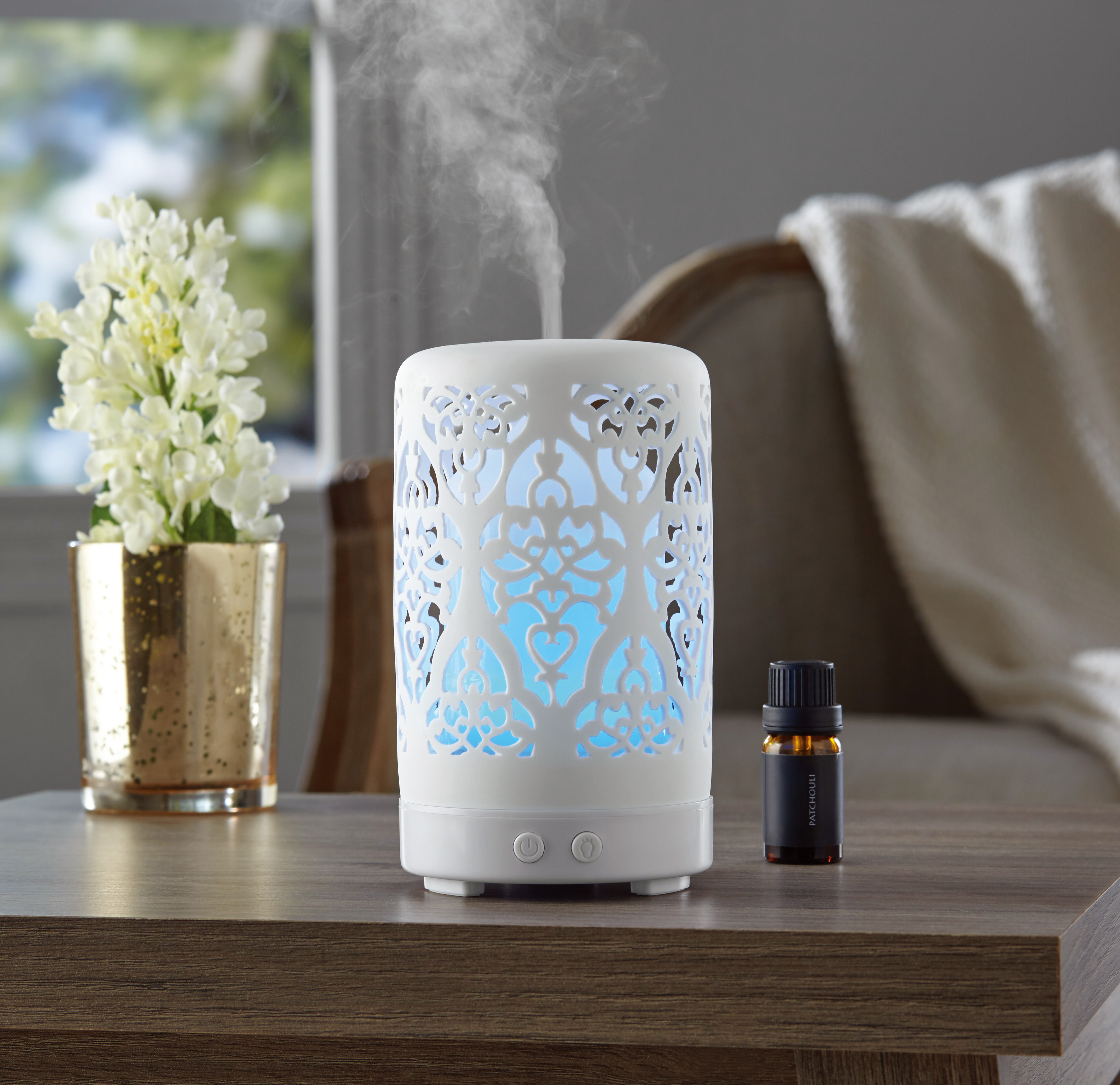 Mainstays Essential Oil Diffuser, White Scroll