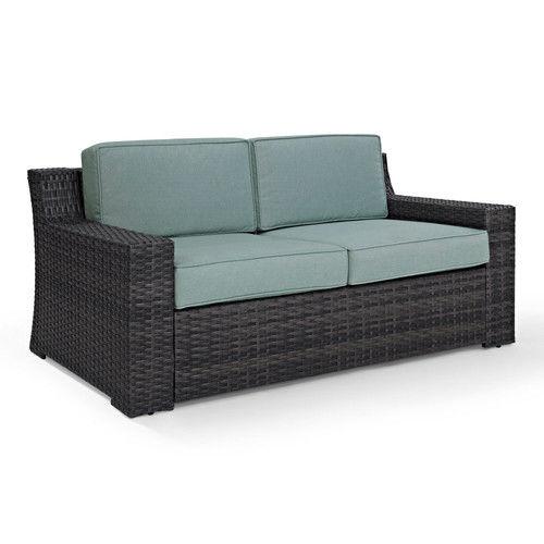 Crosley Furniture KO70102BR Beaufort Rattan Wicker Outdoor Loveseat (Brown/Mist)