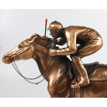 Marian Imports F54079 Jockey On Horse Bronze Plated Resin Sculpture - 10 x 4 x 10 inch ()