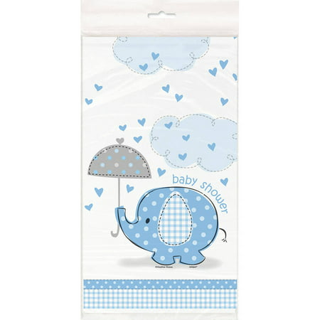 (3 Pack) Plastic Elephant Baby Shower Table Cover, 84 x 54 in, Blue, 1ct - Elephant Baby Shower Theme Boy