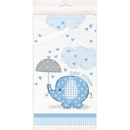 (3 Pack) Plastic Elephant Baby Shower Table Cover, 84 x 54 in, Blue, 1ct