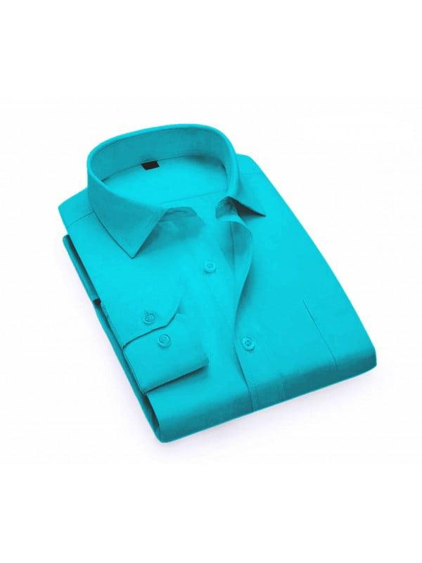 Men's Long Sleeve Regular Fit Point Collar Dress Shirt