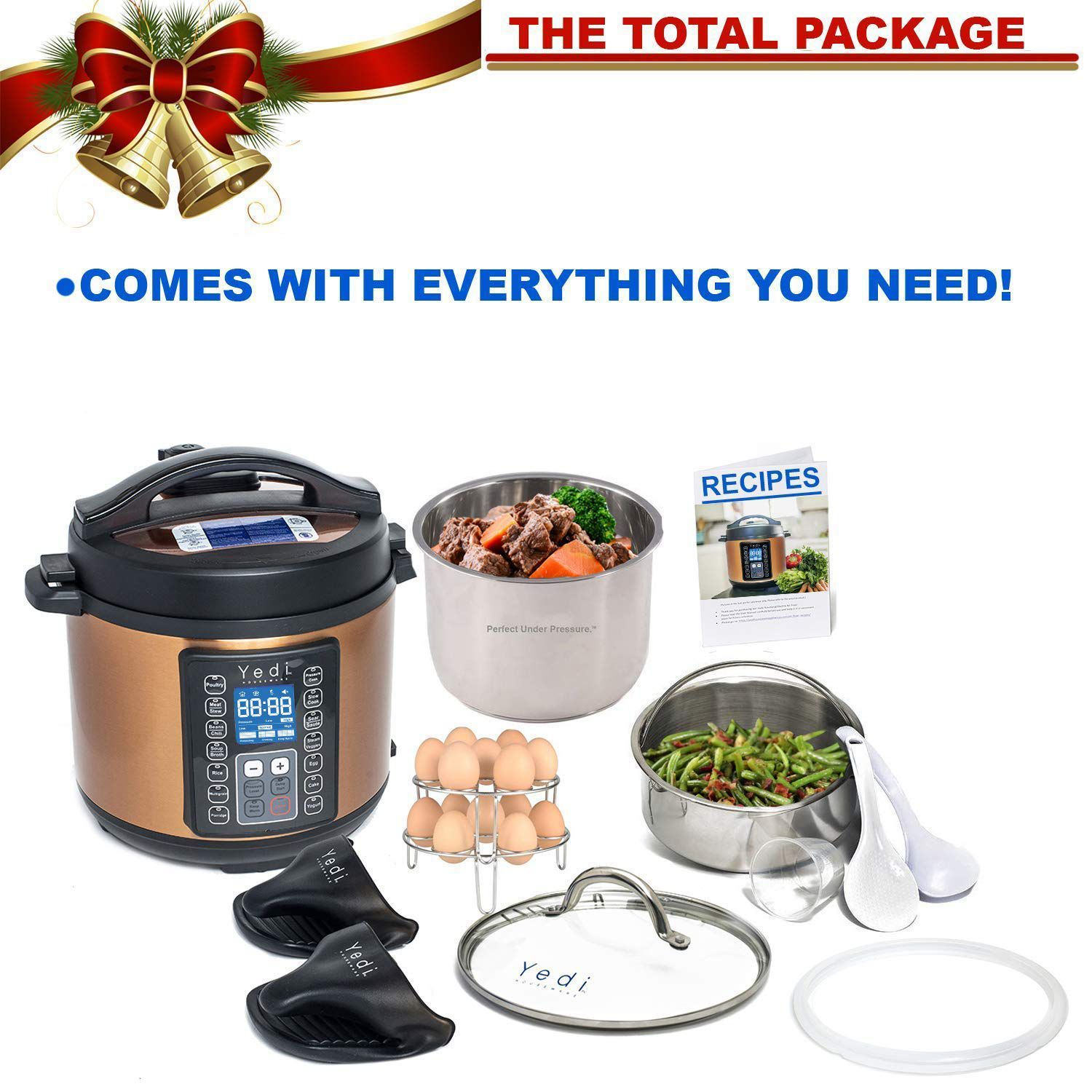 Yedi 6 Qt 9-in-1 Programmable Instant Pressure Cooker, with Deluxe Accessory Kit (Copper) - image 4 of 5