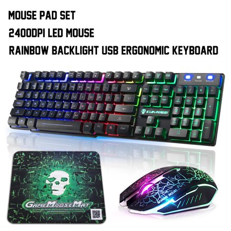 USB Wired Rainbow Backlight Ergonomic Gaming Keyboard with Gamer 2400DPI Mouse Combo & Mouse