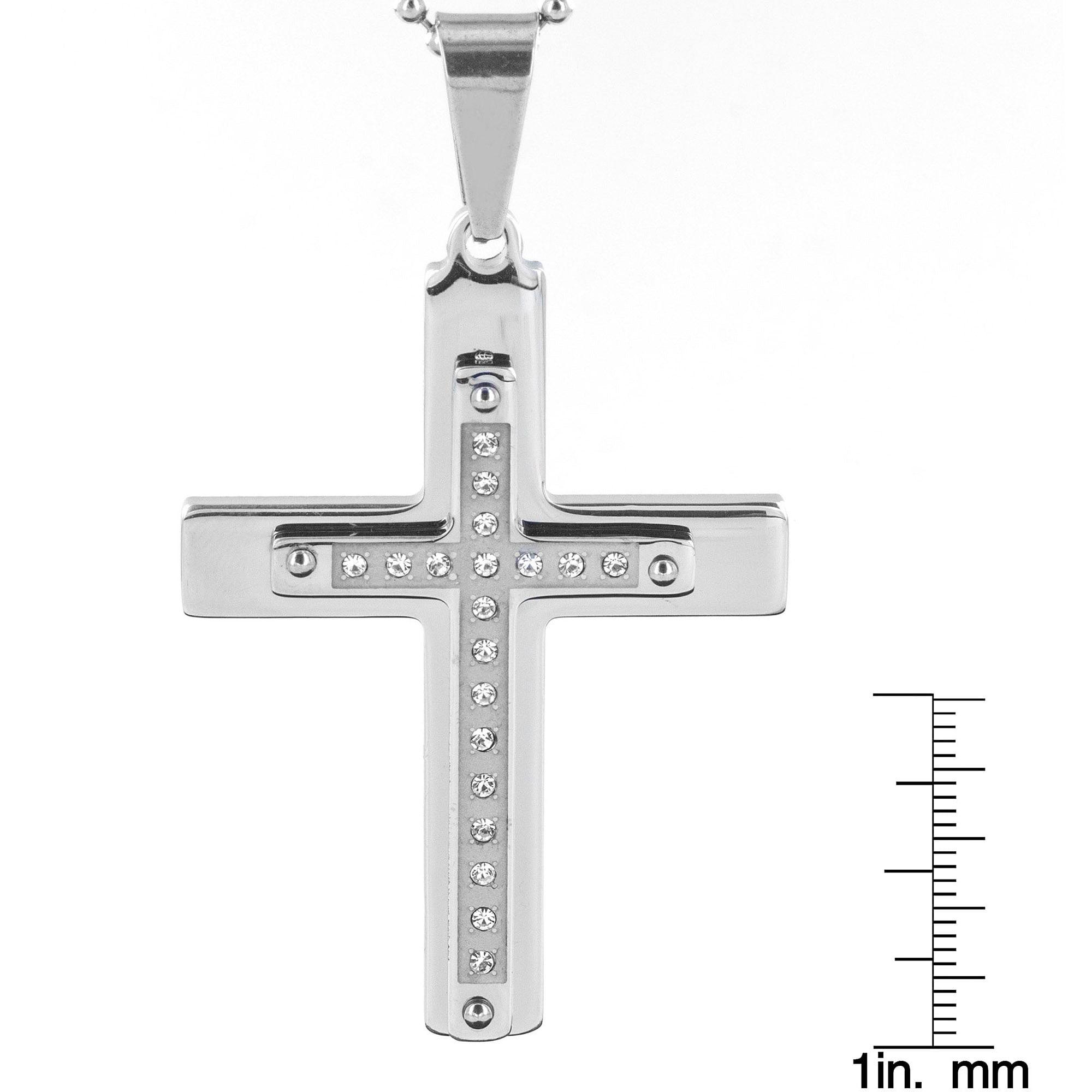 Men s CZ Stainless Steel Layered Cross Pendant Necklace Walmart