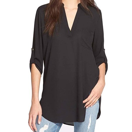 Women's Roll Tab Sleeve Tunic, Perfect Long for Leggings Shirt Cute Versatile -