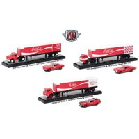 """Auto Haulers """"Coca-Cola"""" Release, 3 Trucks and Cars Set 1/64 Diecast Models by M2 Machines"""
