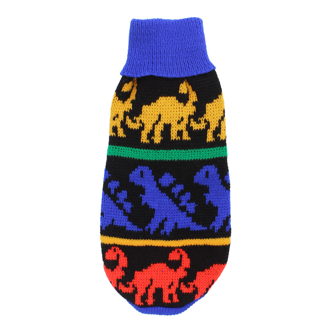 Unique Bargains Pet Dog Puppy Cat Dinosaur Printed Ribbed Cuff Knitwear Sweater Colorful XXS