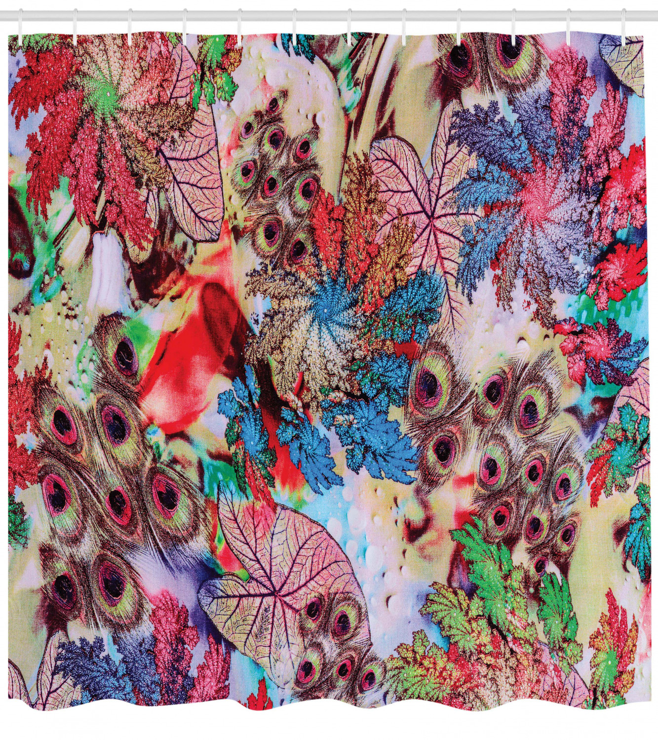 Hand Painting Colorful Flowers Peacock Feather Shower Curtain Set Bathroom Decor