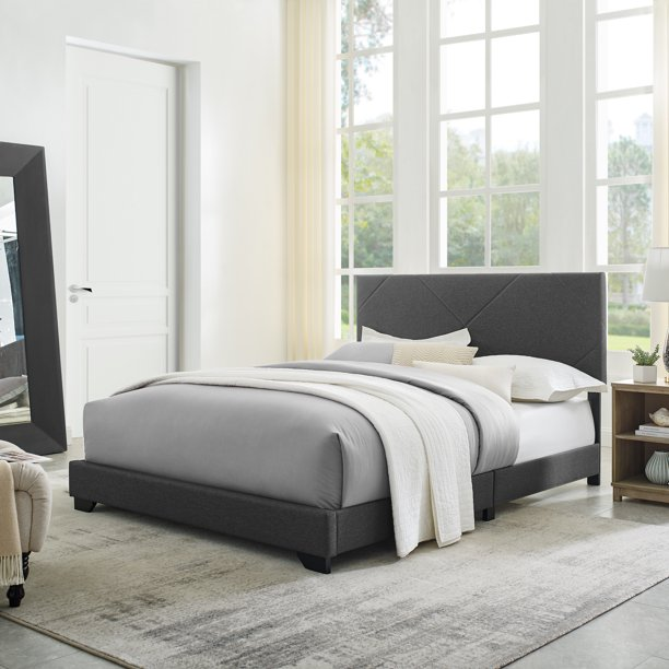 Modern Sleep Lyndey Upholstered Bed, Multiple Colors and Sizes