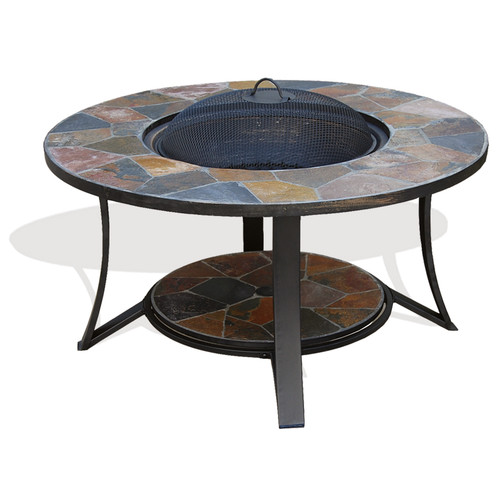 Deeco Arizona Sands Stainless steel Wood Burning Firepit Table by Deeco