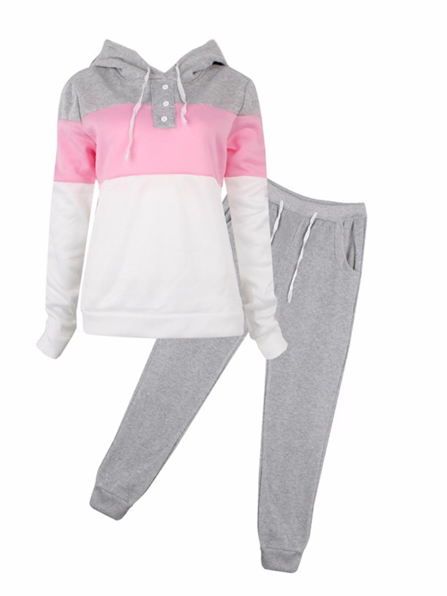 Women Tracksuit Set Hoodie Sweatshirt Jogger Fitness Sports Activewear Loungwear