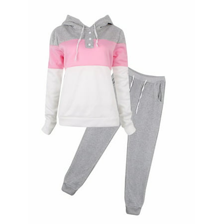 Black Friday Clearance! Gray Womens 2 Piece Outfits Long Sleeve Sweatshirt and Pants, Sports Joggers Sweatsuits Set Tracksuits for Women, Casual Pullover Hoodie Sweatpants Gift for Juniors, S-XL (Womens Outfits)