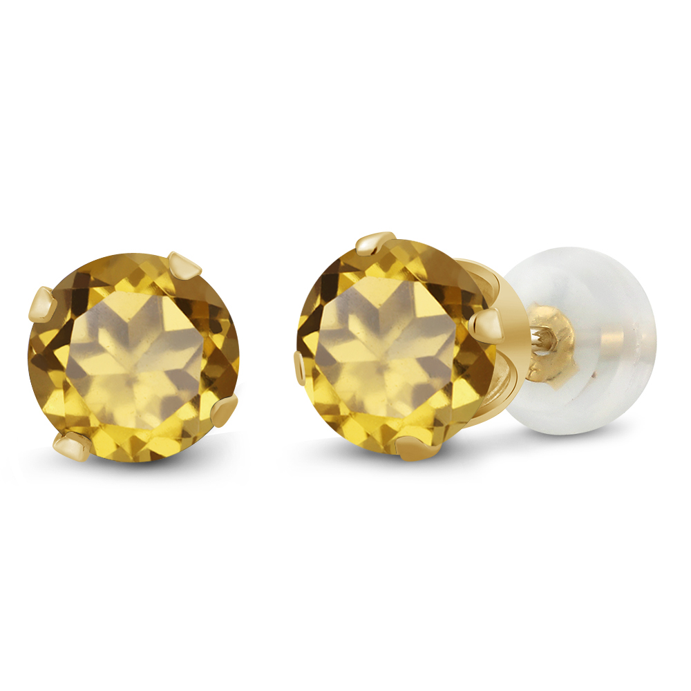 1.60 Ct Round Champagne Quartz 10K Yellow Gold 4-prong Stud Earrings 6mm