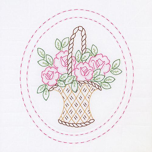 "Jack Dempsey Basket Of Flowers Stamped White Quilt Blocks, 18"" x 18"""