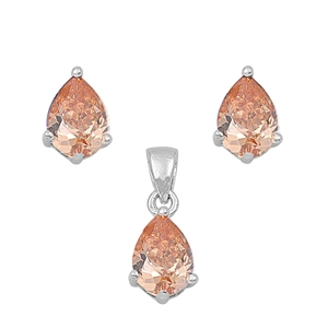 Tear Drop Champagne Cubic Zirconia Matching Set Sterling Silver