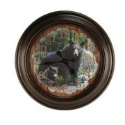 LARGE Round Black Bear Big Huge Wood Wall Clock Rustic Hunting Cabin Lodge Decor