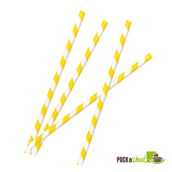 "Pack n' Wood 210CHP21WH, 8.3""x0.2"", Yellow Striped Wax Coated Paper Straws, 500/PK"