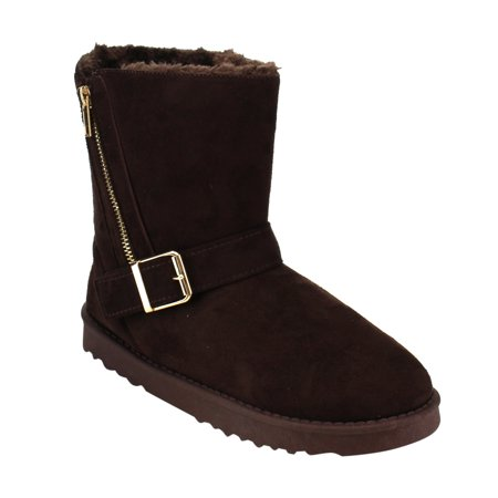 EF26 Women's Buckled Side Zipper Slip On Snow Ankle Booties