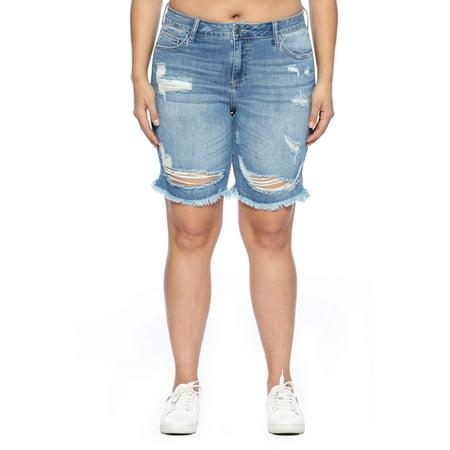 Juniors' Plus Size Distressed Bermuda Shorts