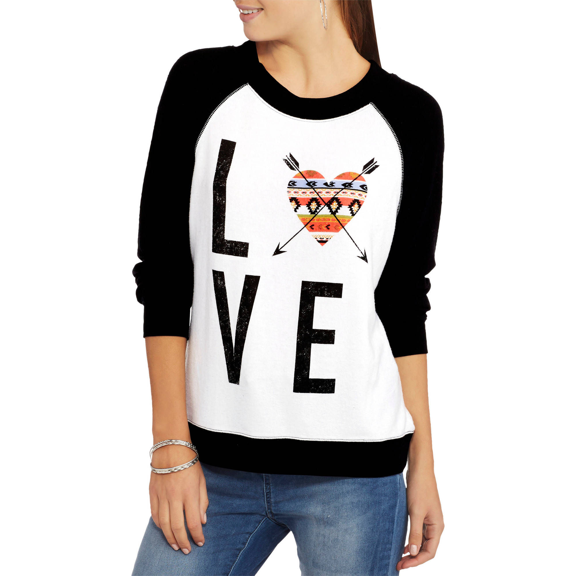 No Boundaries Juniors' Cozy Raglan Graphic Pullover Sweatshirt Assortment