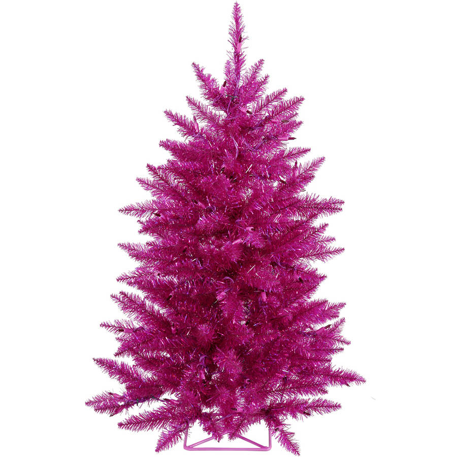 Vickerman 3' Fuchsia Artificial Christmas Tree with 70 Purple LED Lights