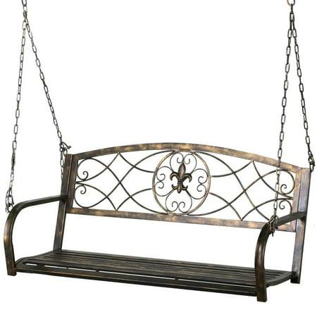 Iron Patio Hanging Porch Swing Bench Outdoor (Swing Hanging)