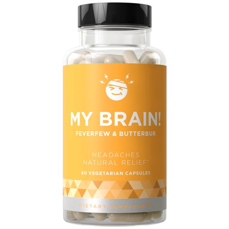 MY BRAIN! Natural Headache Relief - Fast-acting Strength & Long-term Protection - Nausea, Auras, Sensitivity from Tension and Chronic Strain - Magnesium, Feverfew, Ginger - 60 Vegetarian Soft