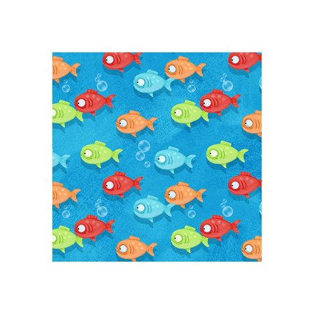 Side by Side Noah's Ark Fish Swimming~Children's Cotton Fabric by Henry Glass, This fabric is sold by the yard and cut to order. By HENRY GLASS CO