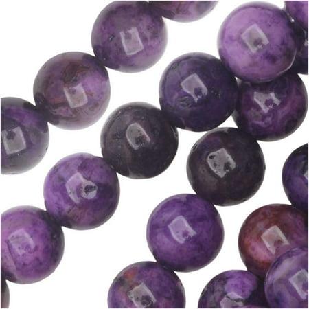 Crazy Agate Beads - Dakota Stones Gemstone Beads, Purple Crazy Lace Agate, Round 6mm, 8 Inch Strand