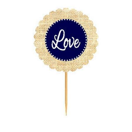 Love Navy Rustic Burlap Wedding Cupcake Decoration Topper Food Picks](Rustic Wedding Decoration Ideas)