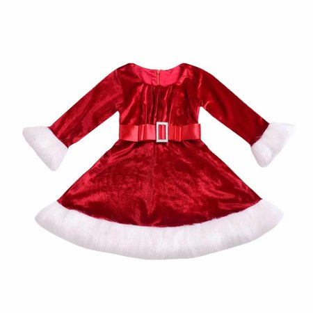 Toddler Girls Fleece Long Sleeve Christmas Dress Party Costume Sparkle Princess Dress (Cheap Toddler Christmas Dresses)