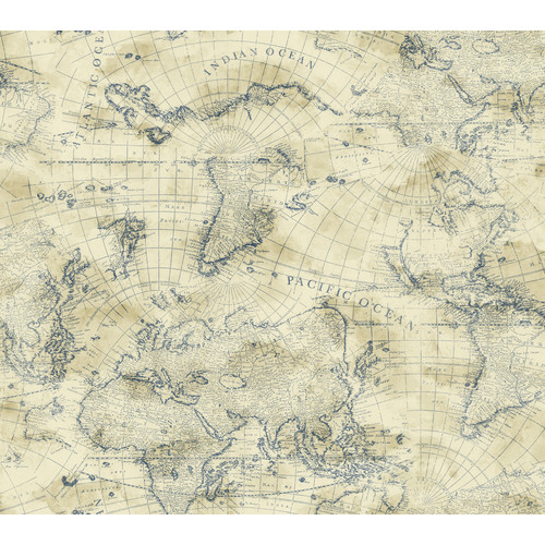 York Wallcoverings Nautical Living Coastal Map 27' x 27'' Wallpaper
