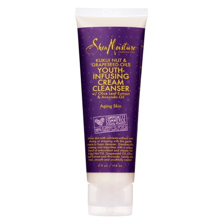 SheaMoisture Kukui Nut & Grapeseed Oil Youth-Infusing Facial Cream Cleanser, 4