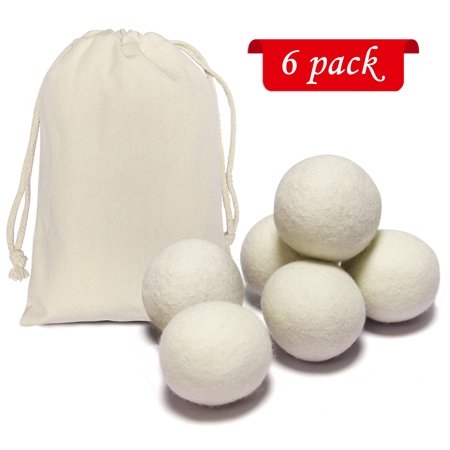 Laundry Dryer Balls, Soften Clothes Fabrics, Reduce Wrinkle, Statics, Twist, Tangle, and Lint. Made with 100% Organic Wool, All Natural, Unscented, No Chemical, No Allergy for Baby Skin (6 Pack) ()